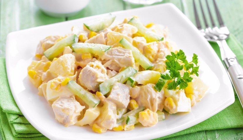 Салат с ананасом и курицей и кукурузой рецепт с